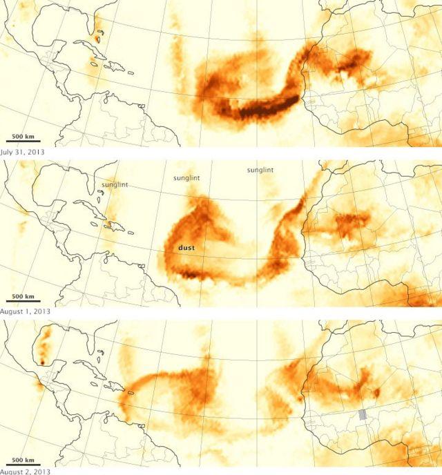 Mapa que muestra el desplazamiento de la nube de polvo sahariano sobre el Océano Atlántico