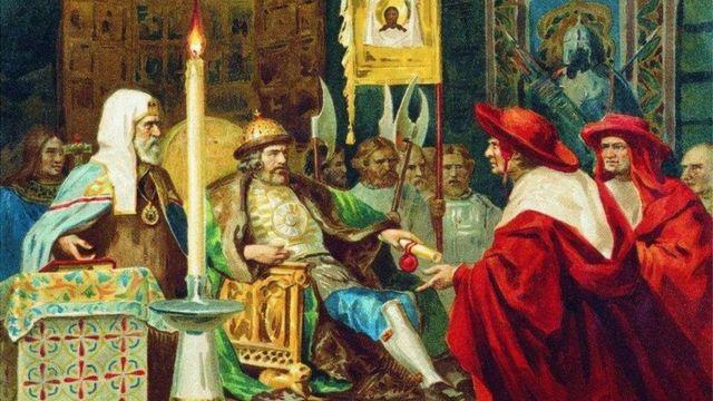 """""""Князь Александр Невский принимает папских легатов"""". Генрих Семирадский, 1876 год"""