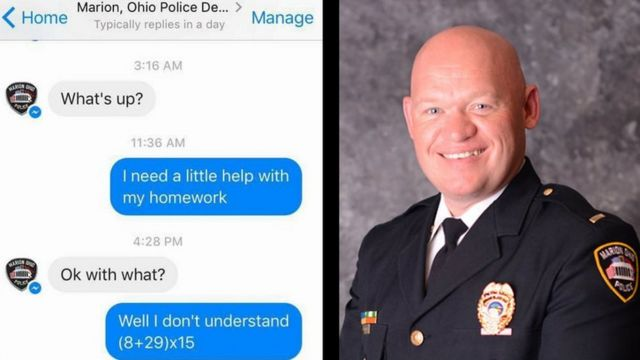 The Facebook conversation about homework and a picture of Lt B.J. Gruber