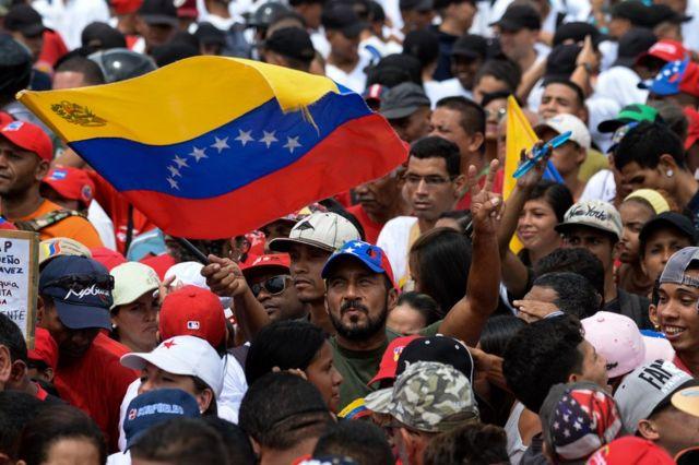 Partidarios del chavismo en Caracas durante el cierre de la campaña para la Constituyente de Venezuela.