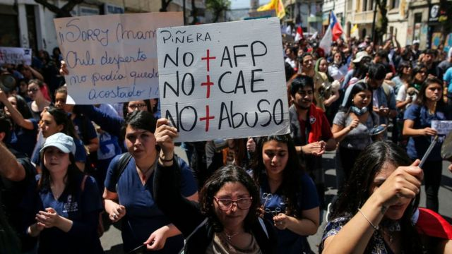 Carteles contra la AFP en Chile.