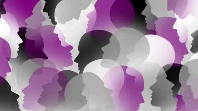 Ilustración de figuras con los colores de reivindicación de la asexualidad