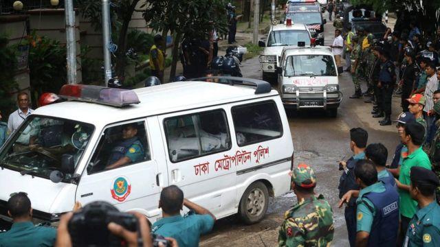 Ambulances carry bodies from the Holey Artisan Bakery in Dhaka, Bangladesh, 02 July 2016