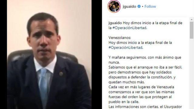 Captura de pantalla del video de Juan Guaidó publicado en Instagram.