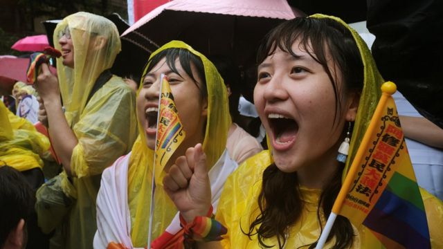 Same-sex marriage supporters outside the Legislative Yuan in Taipei