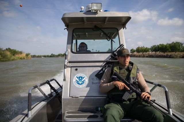 The border, including the Rio Grande River, is policed by US Border Patrol