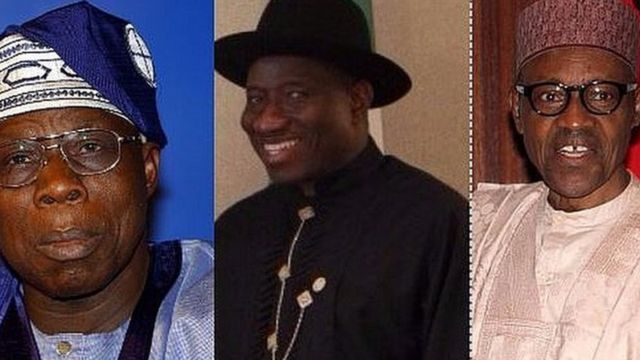 Olusegun Obasanjo,Goodluck Jonathan na Muhammadu Buhari