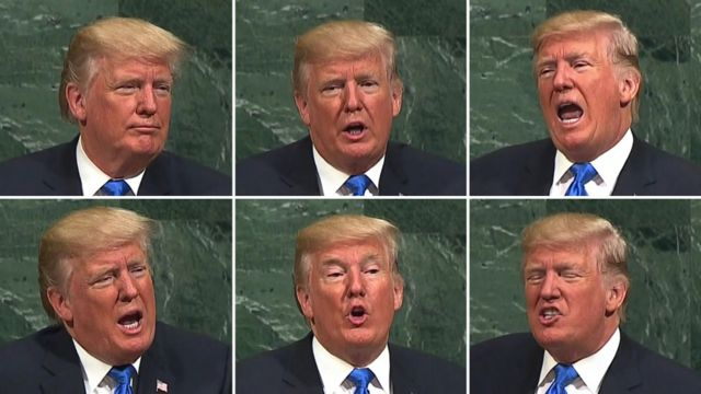 US President Donald Trump at the UN General Assembly in New York, 19 September (composite image)