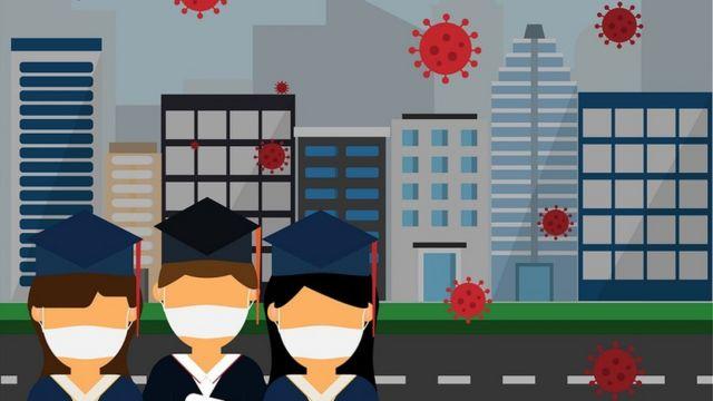 Ilustração mostra três jovens vestidos com becas e chapéus de formatura, segurando currículos e usando máscaras contra a covid-19, enquanto pequenos coronavírus na cor vermelha flutuam à volta deles