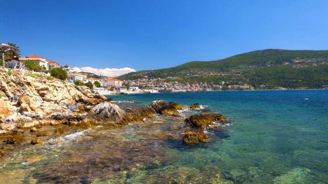 Una vista de Samos, Grecia