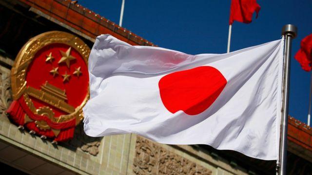 中国国徽与日本国旗