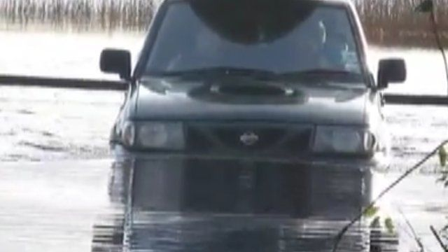 Driving through floodwater in Lisnaskea, County Fermanagh