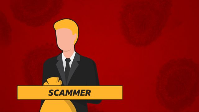 """""""Scammer"""": Man in suit holding bag of money"""