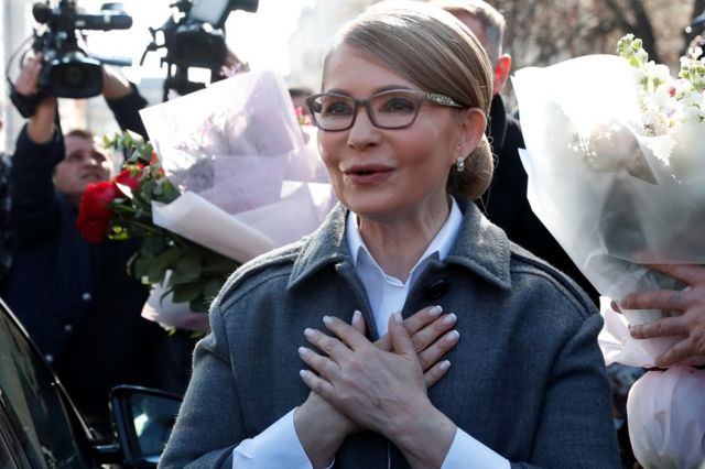 Yulia Tymoshenko outside a polling station in Kiev, 31 May