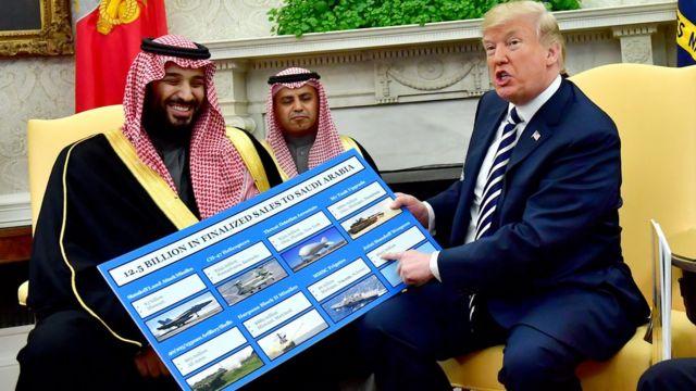 ترامب يستعرض مبيعات الأسلحة الأمريكية للسعودية، أثناء لقاءه بمحمد بن سلمان يوم 20 مارس/آذار