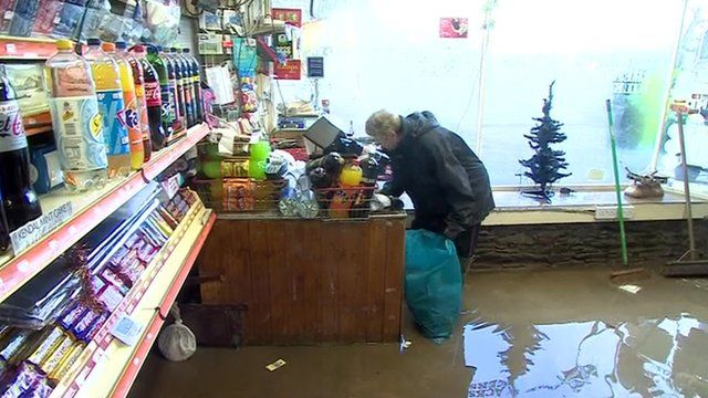Interior of the flooded Glenridding minimart
