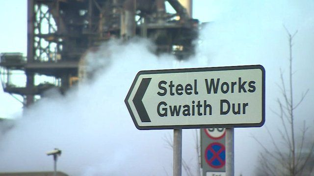 Sign pointing towards the Steel Works