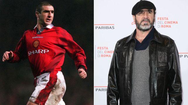 Cantona jugando para el Manchester United en 1997 y en el Festival de Cine de Roma en 2015.