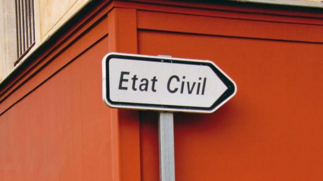 """Panneau """"Etat civil"""" panneau de signalisation"""