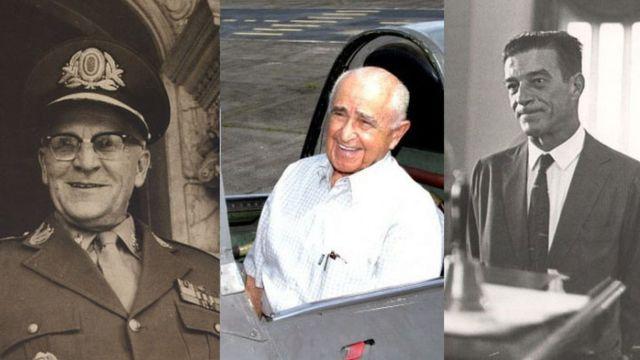 O general Pery Constant Bevilacqua (à esq.). o brigadeiro Rui Moreira Lima e o brigadeiro Francisco Teixeira (à dir.)