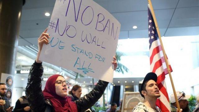 Protestas contra la prohibición migratoria de Trump.