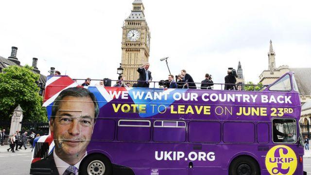 NIgel Farage em ônibus de campanha pela saída britânica da UE
