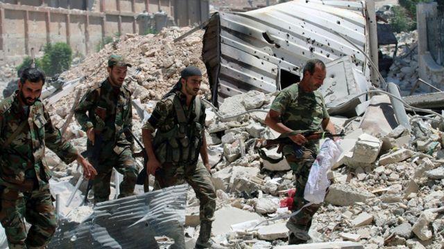 Fuerzas leales a Bashar al Asad en Siria.