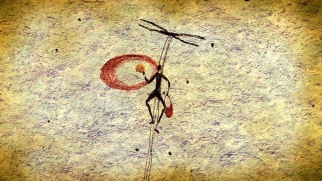 Un pintura rupestre en España que se cree muestra una persona escalando un peñasco con cuerdas para recolectar miel de una colmena y usando humo para ahuyentar a las abejas