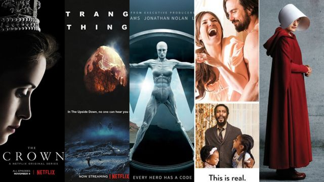 Carátulas de varias series nominadas a los Emmy 2017: The Crown, Stranger Things, Westworld, Ths is Us y The Handmaid's Tale