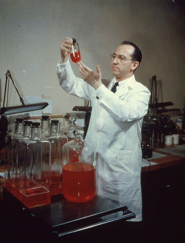 Jonas Salk (1914 - 1995) en su laboratorio.