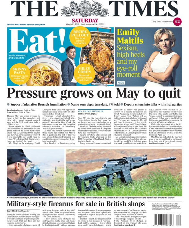 Newspaper headlines: Brexit pressure and no deal 'chaos'