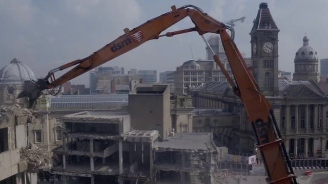 Drone footage of the old library demolition