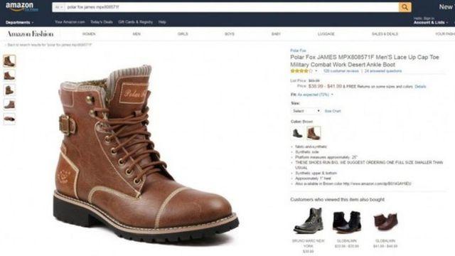 Botas à venda na Amazon