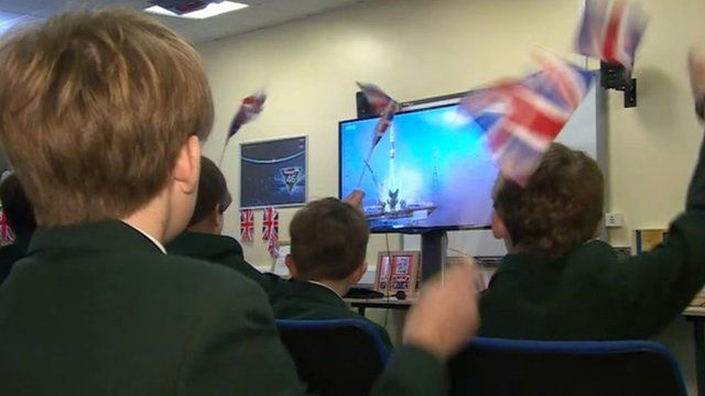 Pupils at Chichester High School cheer on the launch