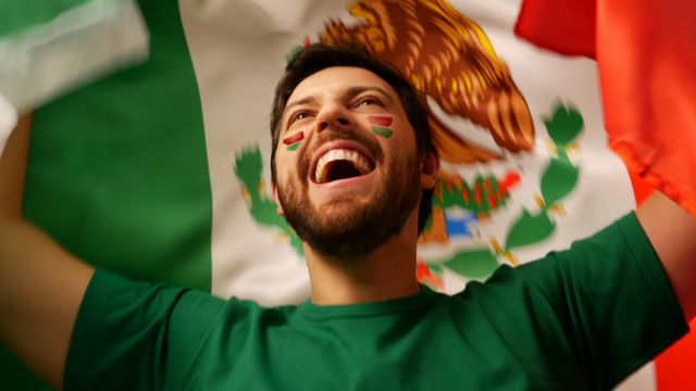 Hombre sosteniendo bandera