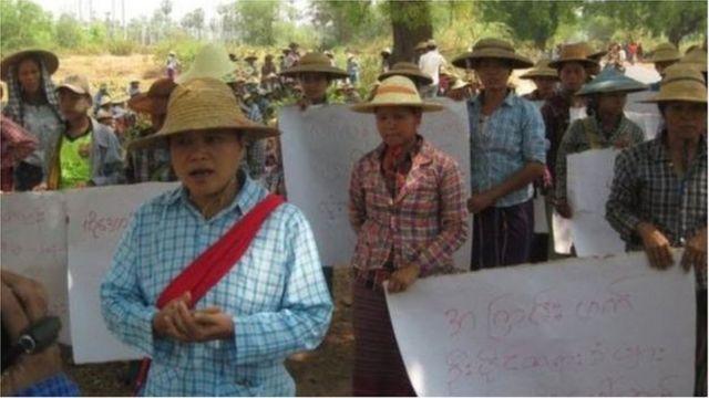 ဒေသခံတောင်သူတွေ စီမံကိန်းရပ်ဆိုင်းဖို့ ဆန္ဒဖော်ထုတ်ခဲ့စဉ်