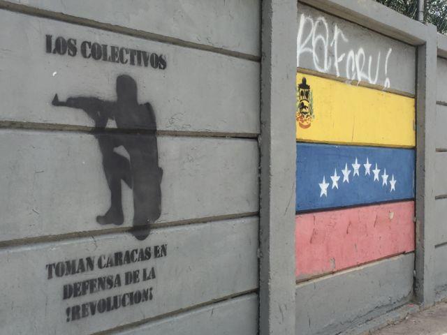 Grafiti con la bandera de Venezuela
