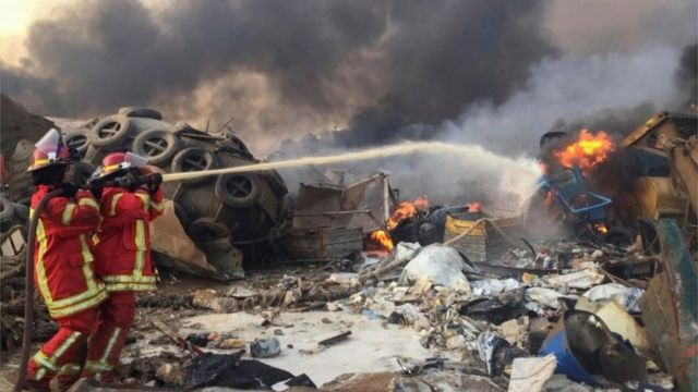 aftermath of blast in Beirut