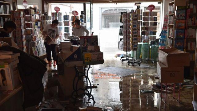 浸水した店