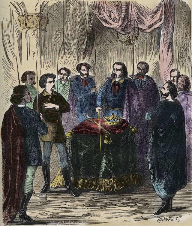 A 19th century depiction of an Illuminati initiation ritual.  Actually, few details remain about the true nature of the ceremony.