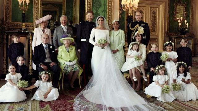 group photograph of Prince Harry and Meghan surrounded by family