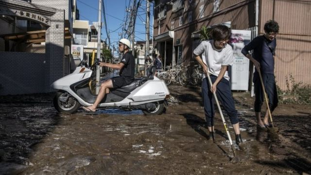 Cleaning up in Kawasaki, Japan, after the typhoon