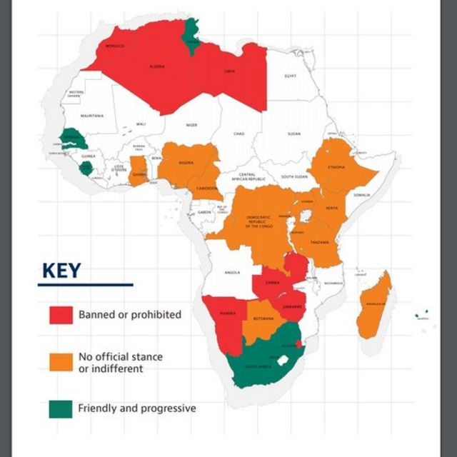 Baker Mckenzie, 2018 map of Africa wit relation to Cryptocurrency