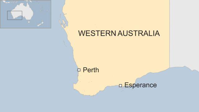 事故が起きたビーチに近いエスぺランス(Esperance)と西オーストラリア州の州都パース(Perth)の位置