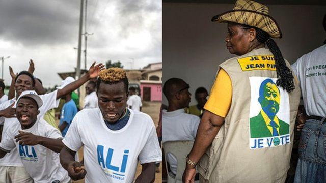 Des partisans du candidat Jean Ping, le chef de l'opposition, et du président sortant Ali Bongo Ondimba