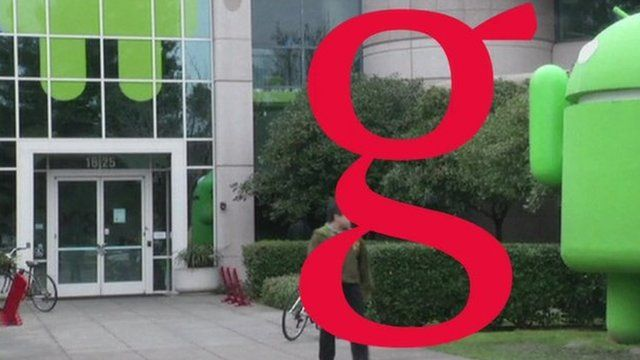 Google office with graphic of letter 'g' overlaid on it