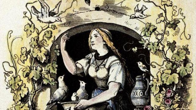 Ilustração de mulher alimentando pássaros