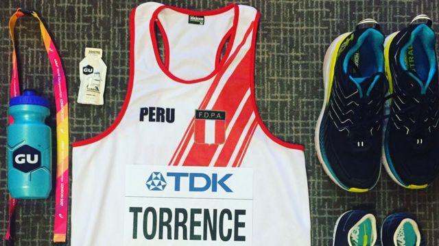 Los elementos de competencia que David Torrence usó en el Campeonato Mundial de Atletismo 2017