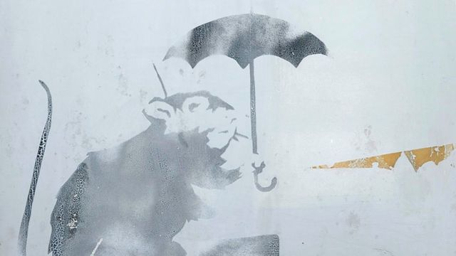 This handout photograph taken on January 16, 2019 and released by Tokyo Metropolitan Government on January 17 shows a drawing of a rat holding an umbrella