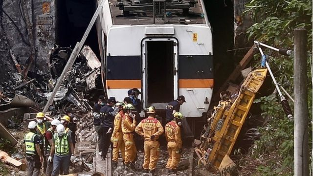 Train wreck and rescue crews